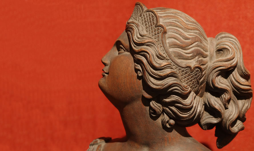 Neoclassical Carved Woman Bust